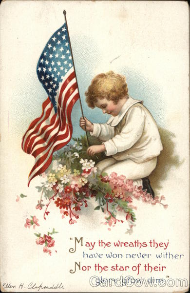 Young Boy with American Flag Ellen Clapsaddle Patriotic