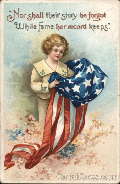 A Young Girl Holding the American Flag Ellen Clapsaddle