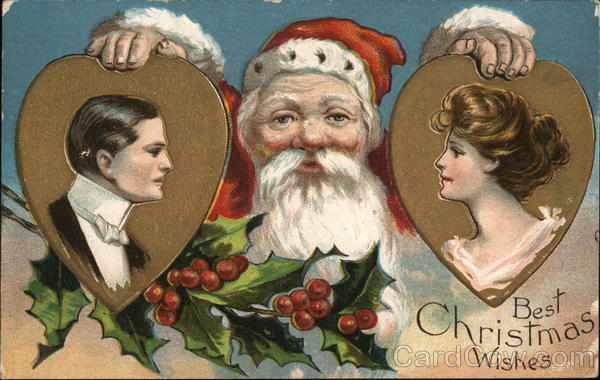 Best Christmas Wishes Santa Holding Pictures of Man and Woman