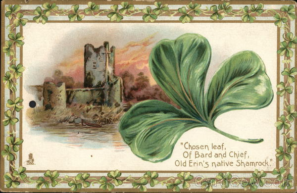 Picture of a Shamrock and a Castle St. Patrick's Day