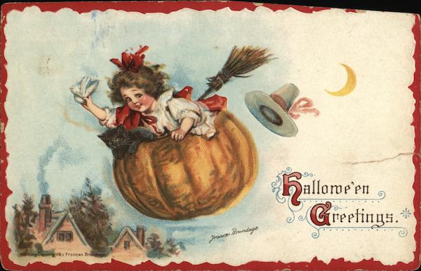 Girl Flying in Pumpkin, Halloween Greetings Frances Brundage