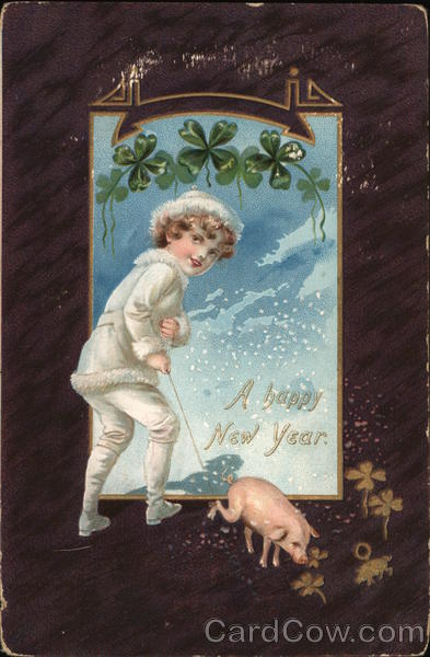 A Happy New Year - Boy Walking Pig In Snow Pigs