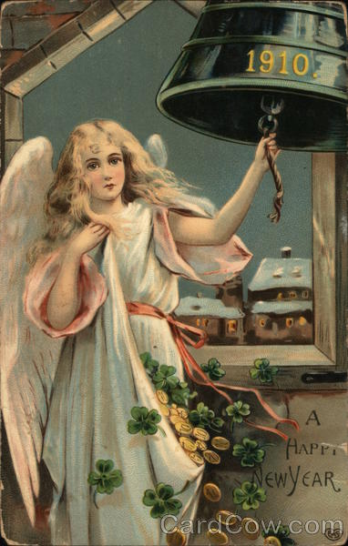 A Happy New Year - Angel Ringing 1910 Bell Angels & Cherubs