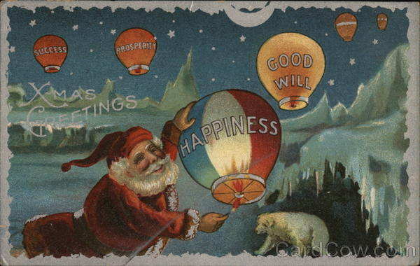 X-Mas Greetings - Santa Launching Hot-Air Balloons