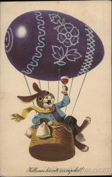 Kellemes Husveti Unnepeket! With Bunnies Hot Air Balloons