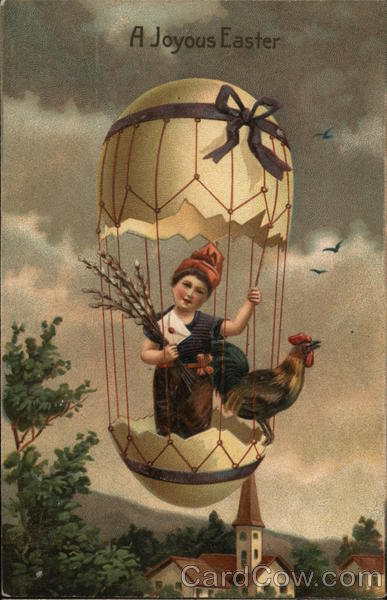 A Joyous Easter - Child with Rooster in Eggshell Hot-Air Balloon