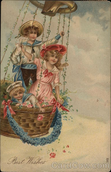 Best Wishes - Three Children in Basket of Hot-Airt Balloon