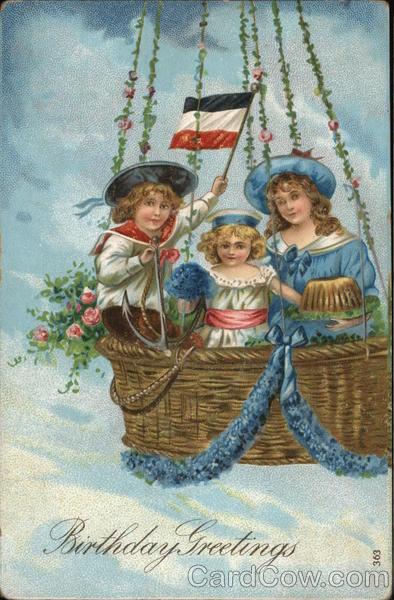 Birthday Greetings - Three Children in Basket of Hot-Air Balloon