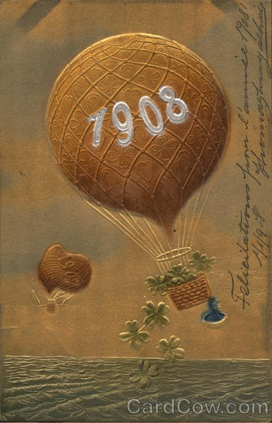 Hot-Air Balloon Reading 1908 Embossed Years