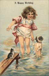 A Happy Birthday - Girl with Dog & Cat in Water