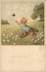 Child in Field Reaching for Butterfly
