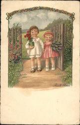 Children Holding Flowers Under Garden Arch