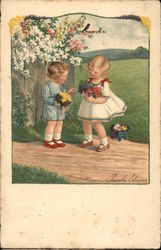 Two Kids Picking Flowers Postcard