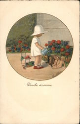 Douche Écossaise - Child Showering Dolls With Watering Can