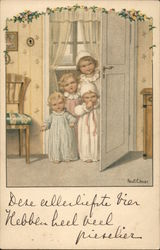 4 Children in Nightgowns, peeking out a door