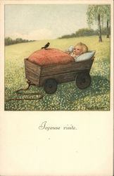 Baby in Wagon in Field With Bird Perched Atop