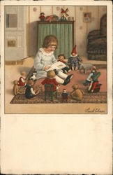 Girl Reading To Dolls