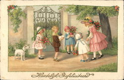 """Hartelijk Gefeliciteerd"" - Children At Gate With Flowers, Dog"