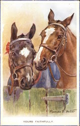 """Yours Faithfully"" - Two Horses' Heads Over Gate"