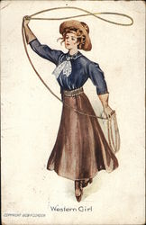 Cowgirl Swinging a Lasso.