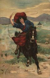 A Woman Riding a Horse, Roping