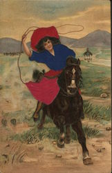 Woman Riding Horse with Lasso