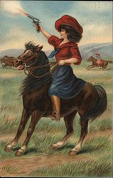 Woman on a Horse Shooting a Gun