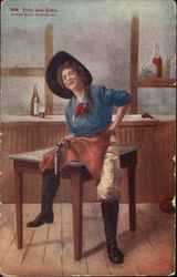 Free and Easy - Cowgirl With Pistol Sitting On Table