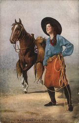 """Watching The Round Up"" - Cowgirl With Lariat Standing By Horse"