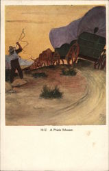 A Prairie Schooner - Covered Wagon Pulled By Oxen