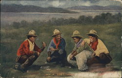 """A Quiet Game"" - Four Cowboys Playing Cards in Field"