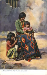 A Navajo Indian Squaw With Children