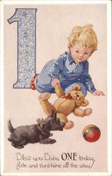 Boy with Teddy Bear, Dog & Ball