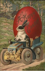 Rabbit Driving Car with Giant Egg