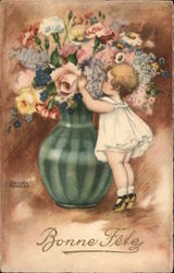 """Bonne Fête"" - Child Smelling Flowers in Large Vase"