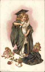 A Young Girl in a Cap and Gown Postcard