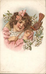 A Young Girl Looking at a Bird Postcard