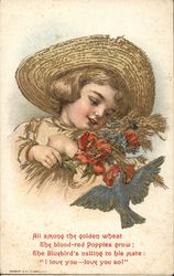 Girl in Straw Hat With Red Poppies and Bluebird
