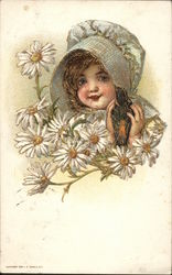 A Girl with a Bonnet and Daisies Postcard