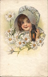 Girl In Bonnet With Bird and Daiseys