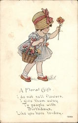 """A Floral Gift"" - Girl with Basket of Flowers"