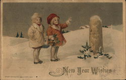 """New Year Wishes"" - Two Children at 0.5 Meter Marker in Snow"