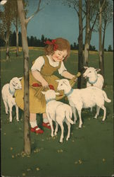 Girl Feeding Lambs from Apron