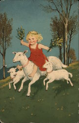 Girl Riding a Lamb in a Meadow