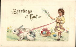 """Greetings At Easter"" - Bunny Leading Girl By Basket of Eggs"