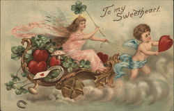 To My Sweetheart - Cupid Pulling Fairy in Chariot