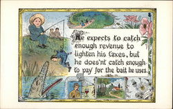 Temperance Card with Boy Fishing, Man As Bait, Saloon as Crocodile