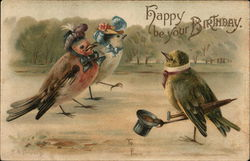 """Happy Be Your Birthday"" - Male Bird Tips Hat to Two Lady Birds"