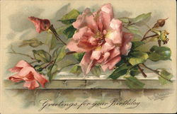 Greetings For Your Birthday - Pink Roses on Stone Ledge
