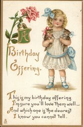 """A Birthday Offering"" - Girl Holding Kitten in Each Arm"